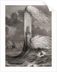 The 18th century Eddystone Lighthouse, built by John Rudyard, Eddystone Rocks, near Rame Head, England by French School