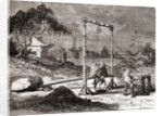 Chinese workers in the 19th century digging a well for the extraction of salt water by French School