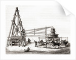 Workers using the carousel and winch to drill the artesian wells at Grenelle, France in the 19th century by French School