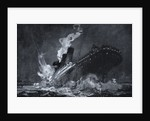 RMS Titanic of the White Star Line sinking after hitting an iceberg in the North Atlantic by Henry Reuterdahl