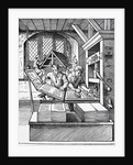 Interior of a 16th century printing house by English School