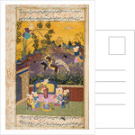 Hunters and favourites drinking with noble or King by Persian School