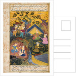 Drinking party outdoors by river or lake by Persian School