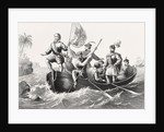 Christopher Columbus setting foot in San Salvador October 12 by English School