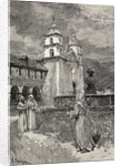 Fountain and mission, Santa Barbara, California by Henry Sandham
