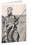 Canadian Soldier wearing a gas mask in 1915 by English School