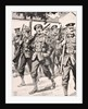 Caricature-like drawing of confident British troops on way to front line Western Front by English School