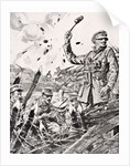 British officer hurling grenades from trench at attacking Germans by English School