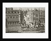 Louis IX has a pot of urine poured on him by a student as he rides to church in Paris by French School