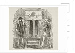 Man locked in a pillory by English School