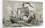 A 15th century warship by English School