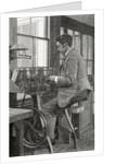 A modern lathe turner at work by English School