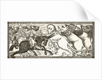 How Alexander did battle with white lions as big as bulls, after a miniature in a 13th century manuscript by English School