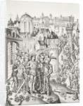 Siege of a town defended by the Burgundians under Charles VI by English School