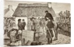 Poor tenants being evicted from their home during the Irish National Land League crisis by Spanish School