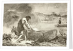 A prehistoric man using fire to fashion a canoe from a log by English School