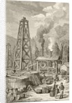 An oil well in nineteenth century Pennsylvania, USA by English School