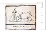 Bullfight scene on an antique tile - The Killing Stage by Spanish School