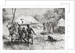 A supposed witch being dragged to her execution on the bonfire in Zambue, Tete, Mozambique by Spanish School