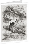 A leopard attacking an African by Emile Antoine Bayard
