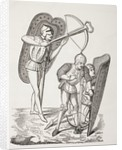 Two 15th century French crossbowmen, one firing his weapon, the other loading it with a windlass, both protected by pavises by French School
