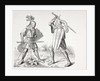 Two 15th century fully armoured knights fighting with swords and shields by French School