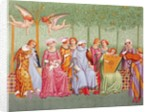 Courtly women listen to music in an orchard by French School