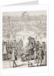 The young King Louis XV promenading in a carriage in the Tuileries Gardens, Paris by French School