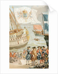 The royal flag of France flying over a French navy ship of the 18th century by French School