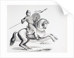 A Norman Knight dressed in Chain Mail and Helmet carrying Spear and Shield by French School