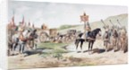 Crusaders on the march in the 11th century with a horse-drawn supply wagon by Armand Jean Heins