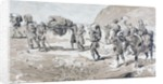 Porters carrying goods in baskets on their backs by Armand Jean Heins