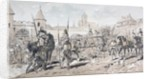 Cavalry and Foot Soldiers with Horse Drawn Wagon carrying Arms and Supplies during the 13th Century by Armand Jean Heins
