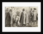 John Frith about to be burnt at the stake for heresy in 1533 by English School
