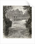Suspension bridge across the Ituri River, the Congo by English School
