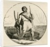 Ancient Briton with a coracle and plow by English School