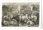 A Dinka cattle park, Southern Sudan, Africa by English School