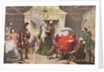 Falstaff enacts the part of the king in Henry IV, Part I, Act II, Scene IV by George Cruikshank
