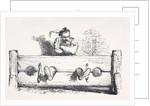 A man in stocks by English School