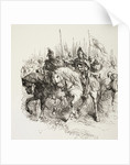 Medieval army on the march led by knights on horseback by English School