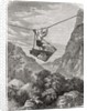 A rope suspended cradle over a valley, used as a means of transport in Japan in the 19th century. by Anonymous