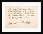 Handwriting and signature of Percy Bysshe Shelley by English School