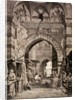 Entrance to the Khan el-Khalili souk in Cairo, in the 19th century by European School