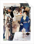 Afternoon tea in Kensington Gardens, London, England, in the early years of the 20th century. After a drawing by Blampied by Anonymous