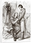 Louis IX, Saint Louis, King of France, seated, being comforted by Jean de Joinville, chronicler of medieval France and friend and biographer of King Louis by Anonymous