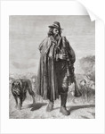 19th century Italian shepherd with his dog and sheep playing bagpipes by Anonymous