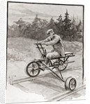 A nineteenth century three wheeled velocipede on a railroad track by Anonymous