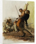 'As the Malay pirate lunged forward to kill his defenceless prisoners, Trelawny leaped at him and locked him in a grip of iron' by Neville Dear