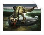 Allosaurus eating an Apatosaurus by English School