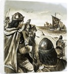 Edward the Confessor as a young king enduring trouble from Danish invaders by English School